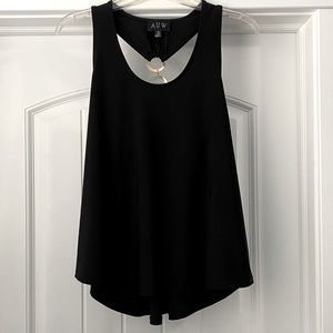 AUW Black Tank Top with Gold Metal Detailing